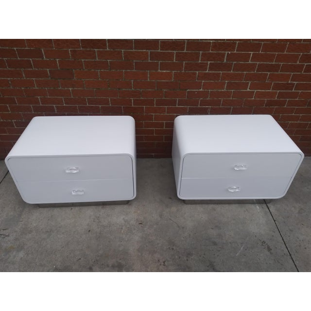 1970s Vintage Space Age Karl Springer Style Nightstands-a Pair For Sale - Image 9 of 13