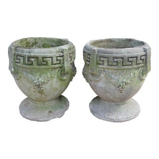 Vintage Greek Style Concrete Garden Planters or Urns - a Pair For Sale