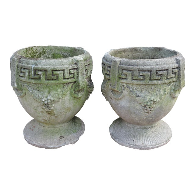 Vintage Greek Style Concrete Garden Planters, Pots or Urns - a Pair For Sale
