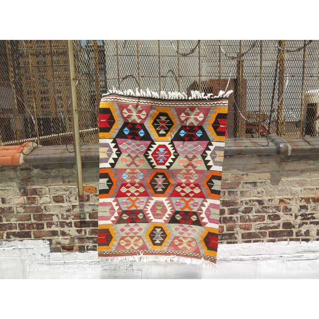 Textile Vintage Turkish Kilim Wool Rug - 2'10'' X 3'9'' For Sale - Image 7 of 7