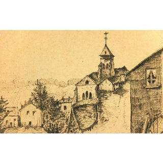 Ink Drawing of Village, C. 1910 For Sale