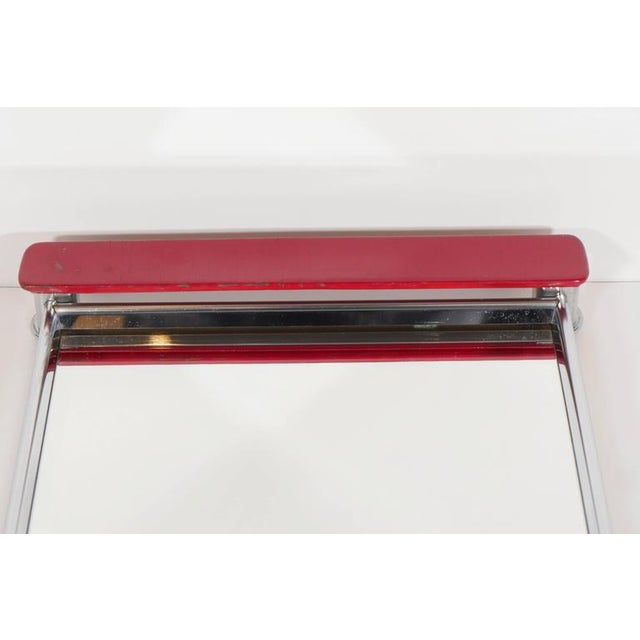 Art Deco Mirrored Bar Tray with Red Lacquered Handles For Sale - Image 9 of 11