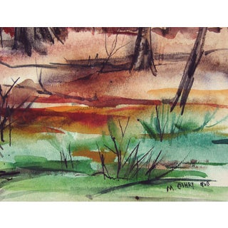 Mid Century Modernist Autumn Forest Watercolor Painting Preview