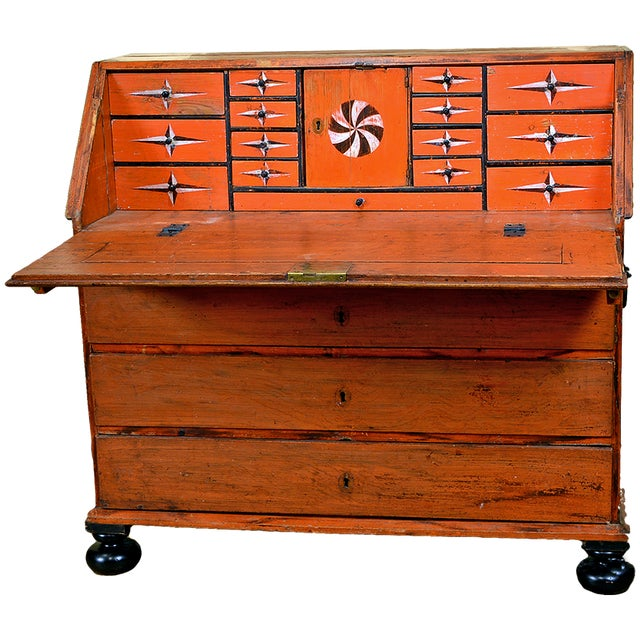 Wood 1848 Traditional Continental Slant Front Secretary Desk For Sale - Image 7 of 7