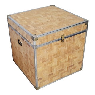 Chinoiserie Woven Bamboo Storage Trunk For Sale
