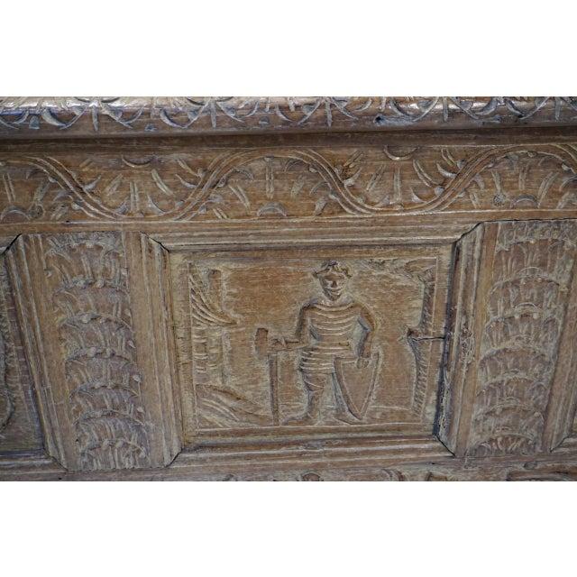 Antique Carved Oak Flemish Coffer Blanket Trunk For Sale - Image 4 of 12