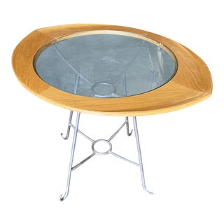 Mid-Century Glass Center Two Person Breakfast Table For Sale