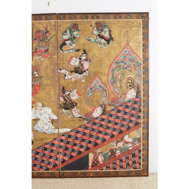 Japanese Edo Bugaku Imperial Court Dance Two-Panel Screen For Sale - Image 9 of 13
