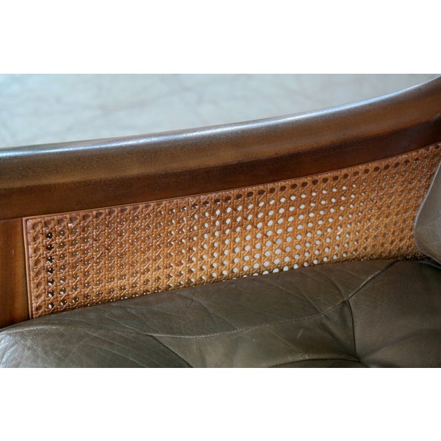 Torbjørn Afdal Settee in Olive Colored Leather and Woven Cane for Bruksbo, 1960s For Sale - Image 9 of 13