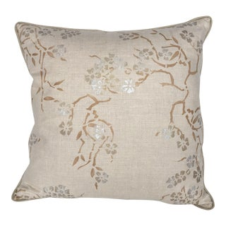 """""""Blossoms"""" Natural - Hand Printed Decorative Pillow For Sale"""