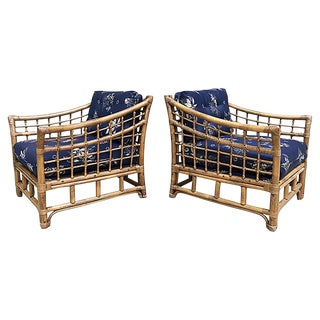 Rattan Lounge Chairs, Pair For Sale