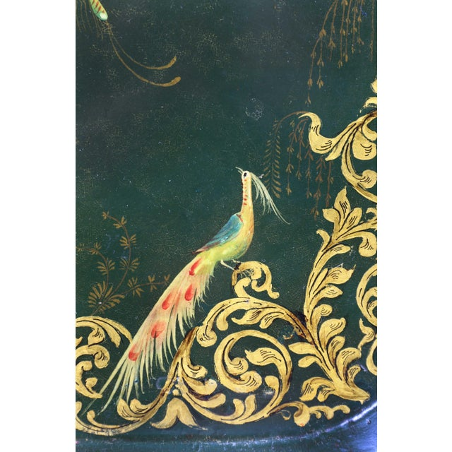 Victorian Papier Mache and Silver Plated Tray Table For Sale In Boston - Image 6 of 13