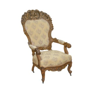 Rococo Revival Exceptional Carved Walnut Antique Victorian Arm Chair For Sale