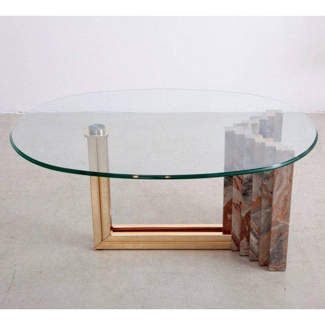 Sophisticated Italian S Marble And Brass Coffee Table Attributed - Marble and brass end table