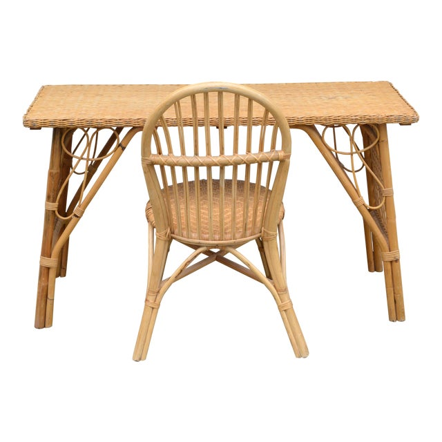 1950s Wicker Rattan Desk and Chair - a Set For Sale