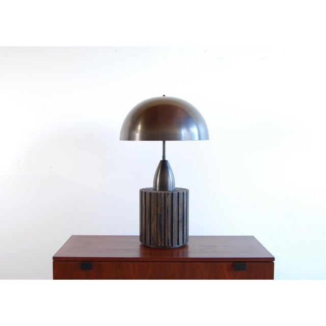"""Table lamp by Apparatus Studio, NYC, circa 2012. Patinated brass and oak. Height is adjustable from 29 1/2"""" - 32 1/2"""""""