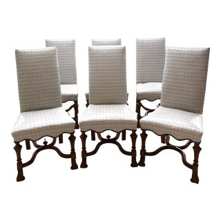 18th Century Vintage English Walnut Queen Anne Dining Chairs- Set of 6 For Sale