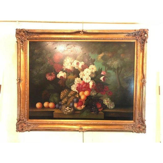A Palatial Framed Oil On Canvas Still Life Of Flowers For Sale - Image 11 of 12
