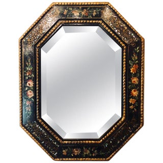 Antique Paint Decorated With Mother-Of-Pearl Accented Octagonal Bevel Mirror For Sale