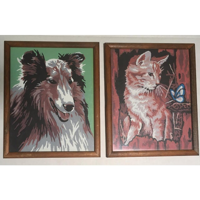 "We are presenting two adorable critters ""Collie"" and ""Marmalade Cat"", done in classic paint by number style, because we..."