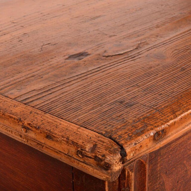 Antique English Pine Footed Chest For Sale - Image 4 of 7