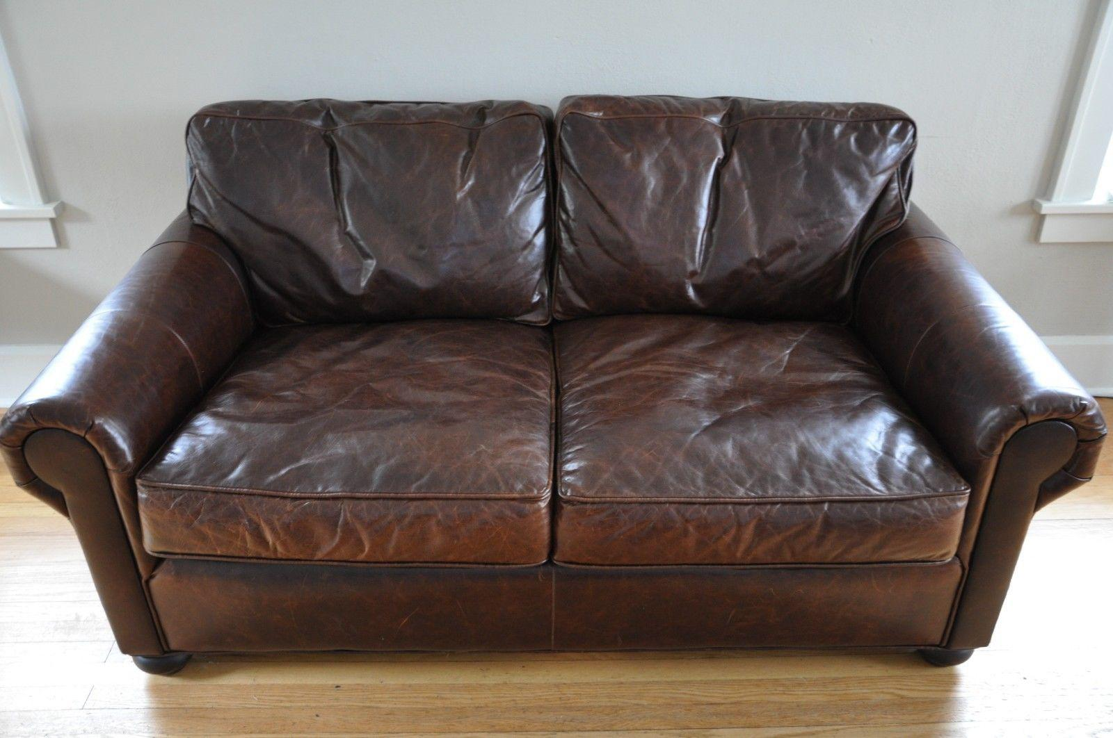 Genial Traditional Restoration Hardware Lancaster Leather Sofa For Sale   Image 3  Of 7