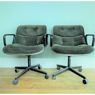 Vintage Knoll Pollock Green Mohair Velvet Executive Chairs - a Pair Preview