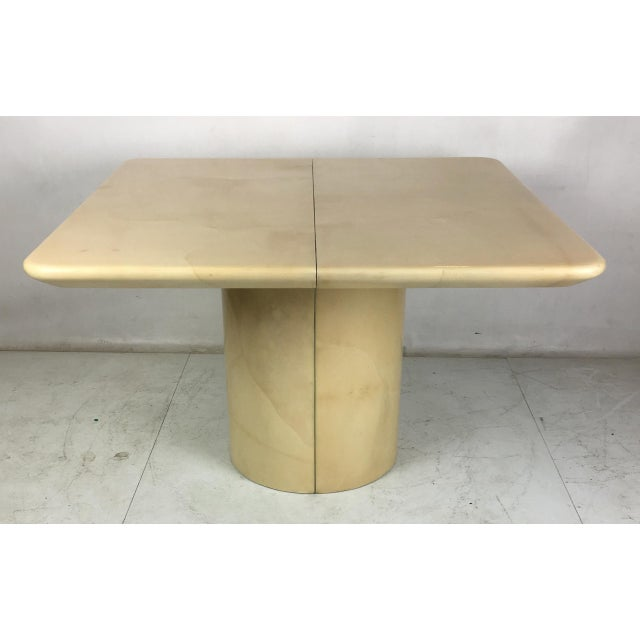 Art Deco 1980s Modern Parchment Extension Dining Table by Ron Seff For Sale - Image 3 of 6