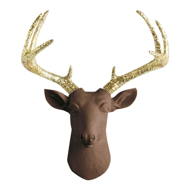 Wall Charmers Chocolate & Gold Faux Taxidermy Mini Deer Head Mount For Sale