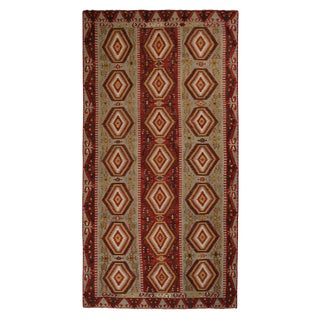 Vintage Esme Green-Blue and Red Wool Rug With Vibrant and Earth Tone Accents For Sale