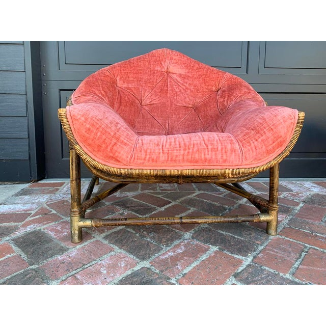 Upholstered Salmon Tufted Chair With Bamboo Brass Feet. Original condition.