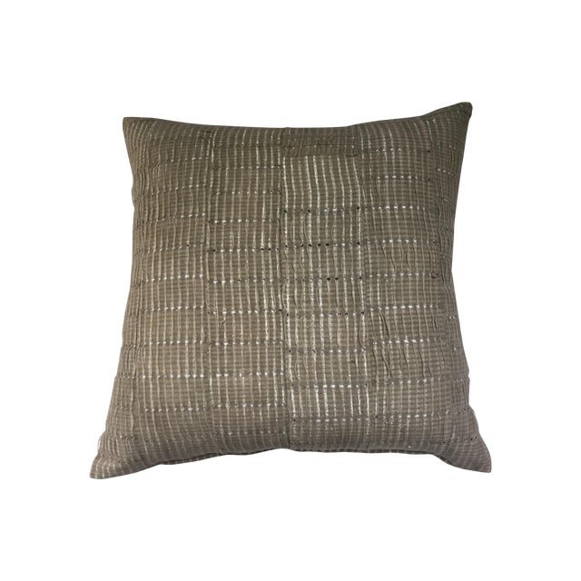 Vintage Aso Oke Metallic Thread Pillow - Image 1 of 4