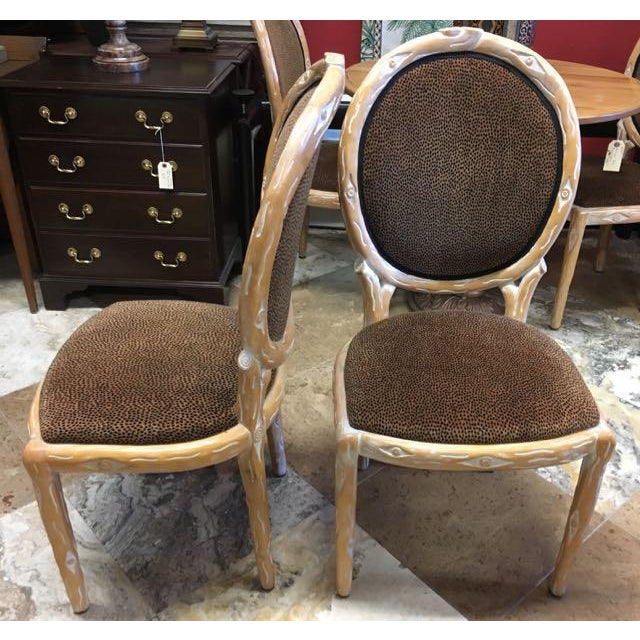 Boho Chic Faux Bois Brown Velvet Side Chairs - Set of 4 For Sale - Image 9 of 12