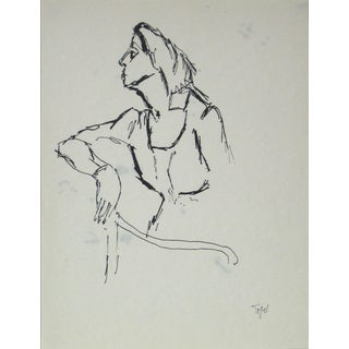 Jennings Tofel 20th Century Side Profile of Woman in Ink Early-Mid 20th Century For Sale