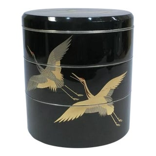 Antique Black Lacquered Japanese Stacking Boxes With Cranes For Sale