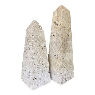 Two Coral Rock Obelisks For Sale