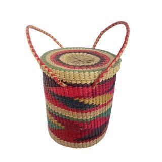 1970s Vintage Woven Coil Natural Fiber Woven Basket For Sale