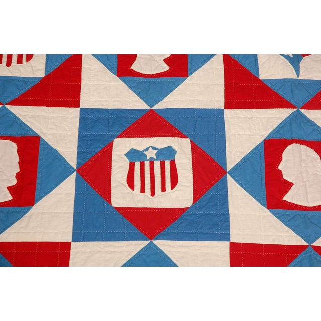 Folk Art Rare Patriotic Presidential Applique Quilt from 1925 For Sale - Image 3 of 9