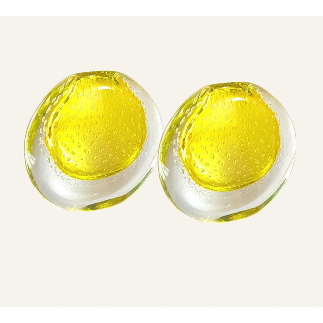 Yellow 1970s Seguso Mid Century Modern Yellow Murano Glass Vases - a Pair For Sale - Image 8 of 8