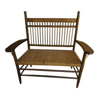 American Farmhouse Wood and Woven Wicker Bench For Sale