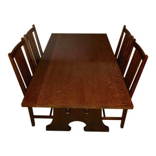 Vintage Stickley Keyhole Trestle Table and Four Side Chairs - Set of 5