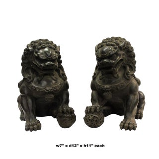 Pair Chinese Distressed Brown Black Marble Like Fengshui Foo Dogs Preview