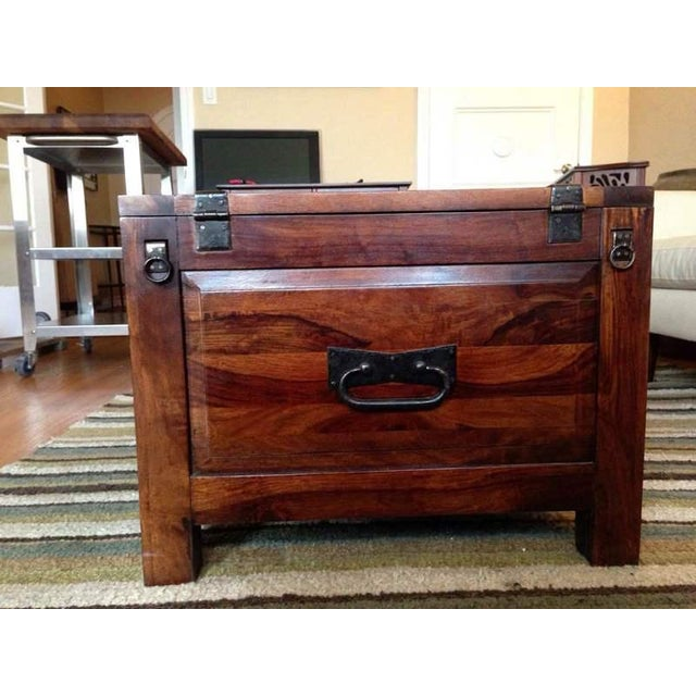 Contemporary Carved Walnut Coffee Table Chest - Image 6 of 7