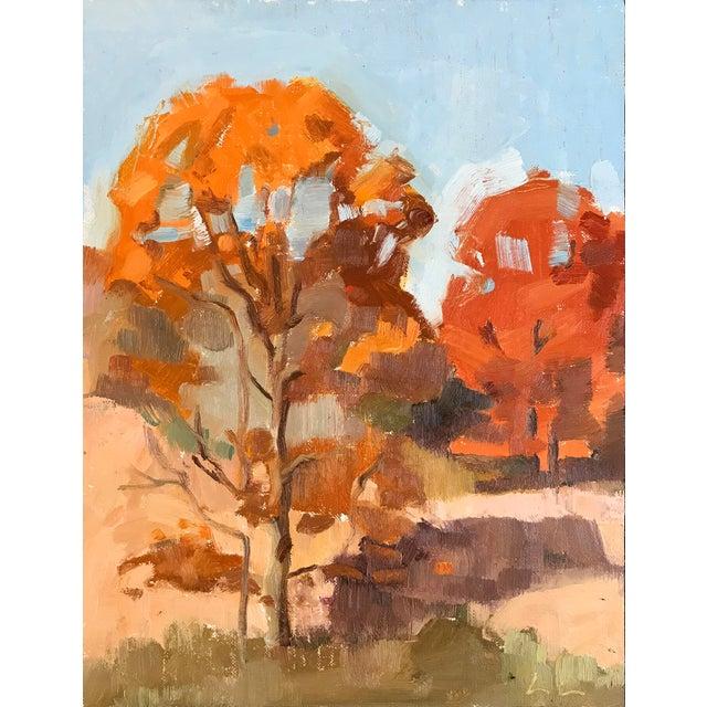 Oak Trees in November - Original Oil Painting by Caitlin Winner For Sale