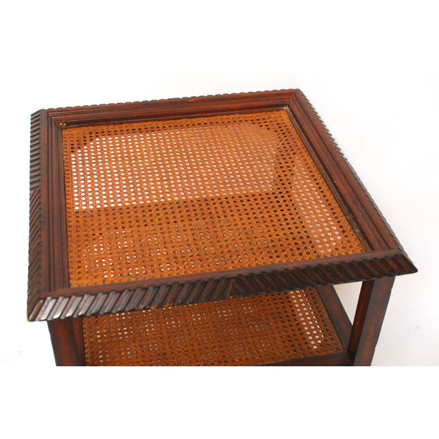 Three Tiered Caned Walnut Side Table - Image 6 of 6