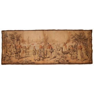 1940s, Vintage French Tapestry 1.6' X 4.2' For Sale