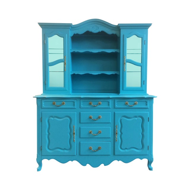 American Turquoise Chippendale Style Oak Hutch - Image 1 of 10