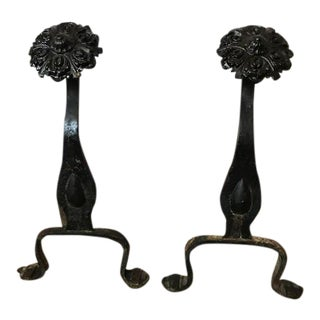 Black Flower Finial Andirons For Sale
