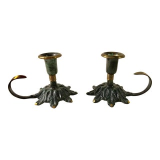 Mid-Century Brass & Green Enamel Candle Holders - A Pair