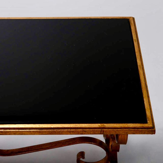 Italian Gilt Iron & Black Glass Cocktail or Coffee Table For Sale - Image 5 of 8